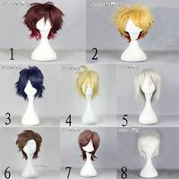 Short Straight Layered Unisex Hair Stylish Halloween Anime Cosplay Wig With Cap
