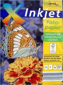 Fotopapier INKJET Drucker Sihl Seidenmatt HP Canon Foto Papier Druckerpapier NEU