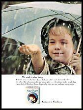 1964 Northern Bath Tissue Vintage PRINT AD Toilet Paper Little Girl Rain 1960s