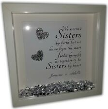 SISTERS QUOTE Personalised Diamante Box Frame - Sisters Beautiful Quote Print