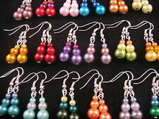 5 Pairs of Mix Colour & Size GLASS PEARL Bead Earrings Fashion Jewellery