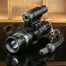 Tactical Red Dot Laser XML LED Zoomable Flashlight Sight Rifle Scope Mount Ring