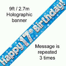 boys 17th birthday party holographic banner 17 today decoration blue banners