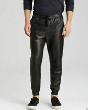 Men's Black Genuine sheep Leather Track Joggers Pants