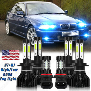 Fits for BMW 330Ci 325Ci 2001-2006 6x Combo LED Headlight Fog Light Bulbs Kit