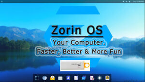 Linux Zorin Operating System 12.3 Core 32bit on 8Gb USB. Replacement for Windows