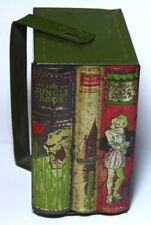 """RARE ANTIQUE HUNTLEY&PALMERS """"STORIES"""" FIGURAL BOOKS BISCUIT TIN C1910 JUNGLE"""
