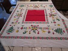 """Vintage 50s Printed Christmas Tablecloth  """"MERRY CHRISTMAS"""" w/Decorations"""