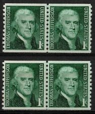 US 1968 #1299 - 1c Geen Jefferson - Coil Line Pairs Lot of 2 - OG MNH VF