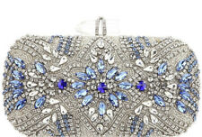 NinaJeweled Glass Crystal Bead Lift-Lock Minaudiere Clutche New
