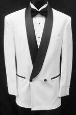 Men's White Double Breasted Tuxedo Jacket with Black Satin Lapels & Trim 52S