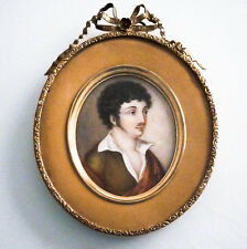 Grande peinture en miniature, portrait d'homme, époque Romantique, début XIX ème