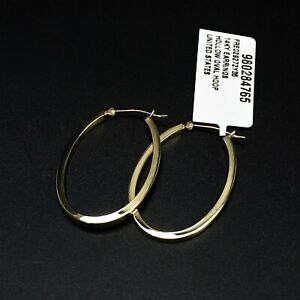 New With Tags 14k Yellow Gold Hollow Hoop Earrings 1.4g -BBR2306