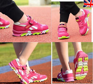 Girls Pink Lightweight Lace Up Trainer Shoes SCHOOL SPORTS breathable sneakers
