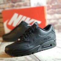 Nike Air Max 90 LTHR Leather Running Shoes Triple Black 302519-001 Men's Sz 11.5