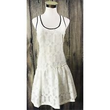 NWT Karen Millen Lace Crochet Overlay White Black Trim Sleeveless Dress Size 8