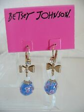 Betsey Johnson Drop Earrings Gold-Plated Blue Flower Bead Bow Detail NWT