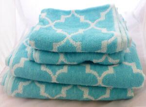 4PC TOWEL BALE SET 2 BATH, 2 GUEST TOWELS AQUA NEW