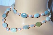 Halsketten und Anhänger aus ovale Echtschmuck mit Aquamarin für Damen