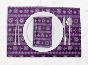 S4Sassy Artistic Floral Printed Dining Room Tablemats With Napkins set-FL-872G