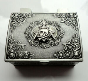 Freemason Cuff links Square Compass Metal Box Unusual Item Hiram Abiff