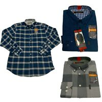 Ben Sherman Men's Stretch Woven Button Down Long Sleeve Plaid Shirt 1151375