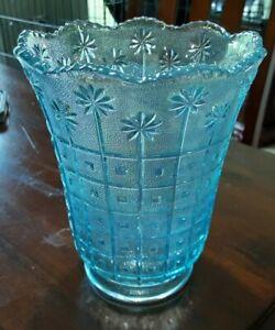 "Vintage 1980s Imperial Glass by Lenox Horizon Blue Carnival 5 1/2"" Vase-42752 HB"