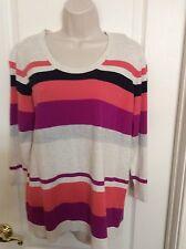 Gap Women's Multi-Color Striped 3/4 Sleeve Sweater Size XL