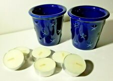 Longaberger Pottery Cobalt Blue Star Votive Candle Holders,2 + Free Tea Lights
