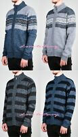 Mens Fleece Lined Zip Up Aztec Striped Knitted Wool Blend Jumper Cardigan Zipper