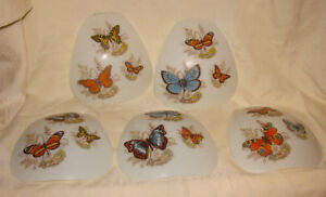 5 Slag Glass Lamp Panels Butterflys Parts Repair Salvage Re-purpose Craft