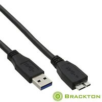 Brackton 2,0m USB 3.0 SS Kabel 5 GB/s Stecker A > St. Micro B 100% Kupferleiter