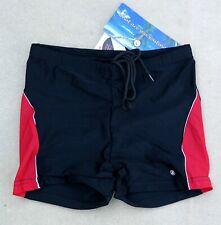 "ACCLAIM Mens Boxer Swimming Trunks Large 28""/30"" Waist Black Red White"
