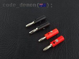 New Audio Banana Plug Speaker Adapter Red + Black (x4) - Car Audio / Arduino