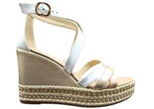 Sandali da donna Nero Giardini E115830D scarpe zeppa alta comoda plateau bianchi