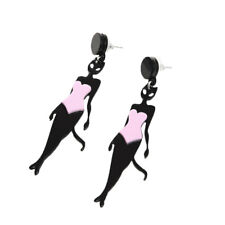 Bikini Outfit Fashion Drop Earrings E1266 Fantasy Cat Women in Mask Black Pink