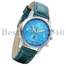 Fashion Leather Band Mens Womens Classic Quartz Analog Sport Wrist Watch Blue