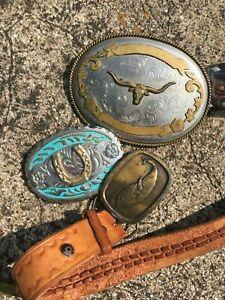 Vintage Belt Buckles Western, Longhorn, Horseshoe