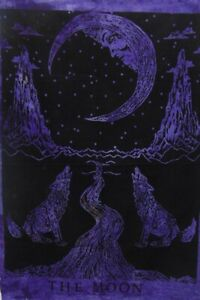 Crying Wolf of The Moon Tapestry Wall Hanging Bohemian Table Throw Ethnic Decor