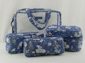 New Vera Bradley 4 Piece Cosmetic Organizer Travel Set Beary Merry Blue