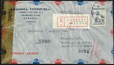 1502 VENEZUELA TO CHILE CENSORED AIR MAIL COVER 1942 CARACAS - SANTIAGO
