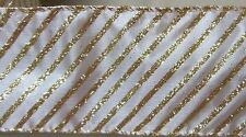 "5 yds. White & Gold Glitter Diagonal Stripes Wire Edge Ribbon 2 1/2"" wide"
