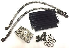 BLACK PERFORMANCE RACING OIL COOLER SET DIRT BIKE PIT BIKE MONKEY BIKE W/ PIPE