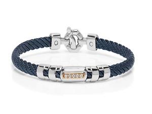 BARAKA Bracciale oro rosa 18kt Diamanti ct 0,10 acciaio PVD blu BR33200 bracelet