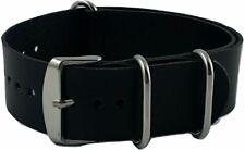 Watch Leather Nato Strap Black 22mm