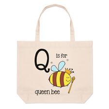 Lettere Q è per Queen Bee GRANDE BORSA CON MANICO da Spiaggia - Alfabeto