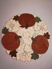 "2pcs Thanksgiving Embroidered Pumpkin Cut Work Placemat 15.5"""