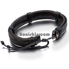 Handcrafted Black Strap Leather Men's Adjustable Surfer Bracelet Wristband