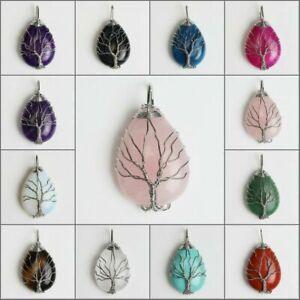 Natural Gemstones Teardrop Tree of Life Reiki Chakra Silver Pendant for Necklace