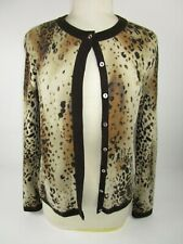 Investments 100% Cashmere Cardigan Animal Print Sz M Hidden Button Front Dressy
